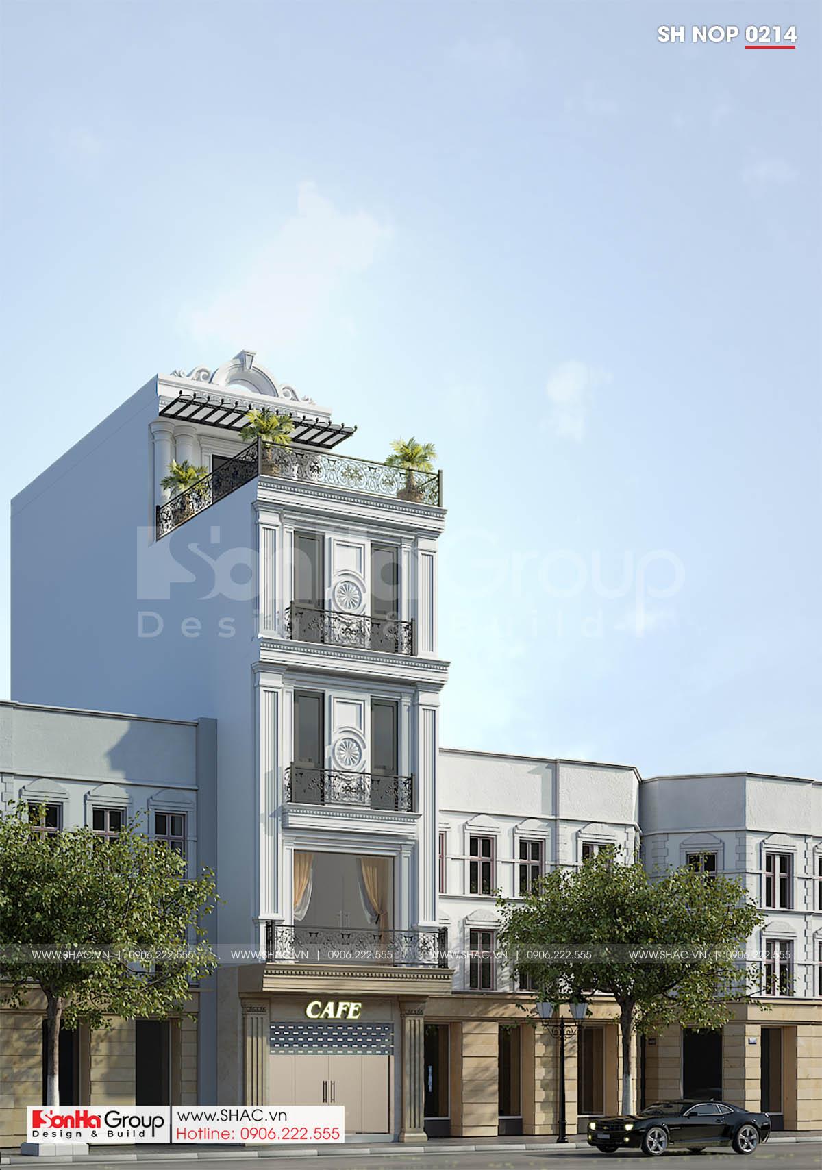 Mẫu nhà phố tân cổ điển 5 tầng sang trọng và thông minh mặt tiền 5m