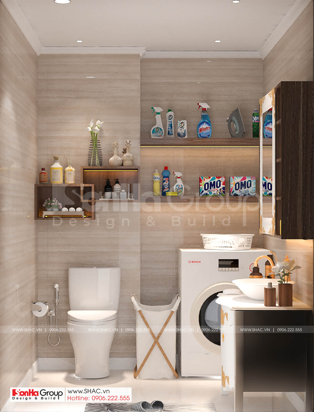 Gợi ý bày trí nội thất WC của thiết kế nhà ống diện tích 72m2 tại Hải Dương.