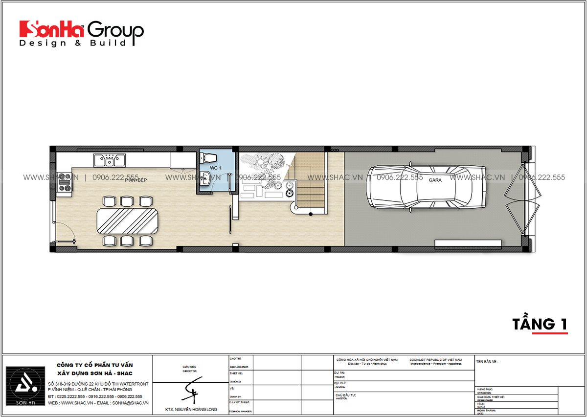 Công năng sử dụng tầng 1 thiết kế nhà phố 4 tầng tại Hải Dương