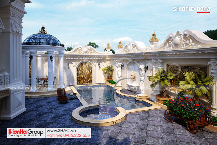 Bể bơi hiện đại trong biệt thự lâu đài 3 tầng 1 tum mặt tiền 16m
