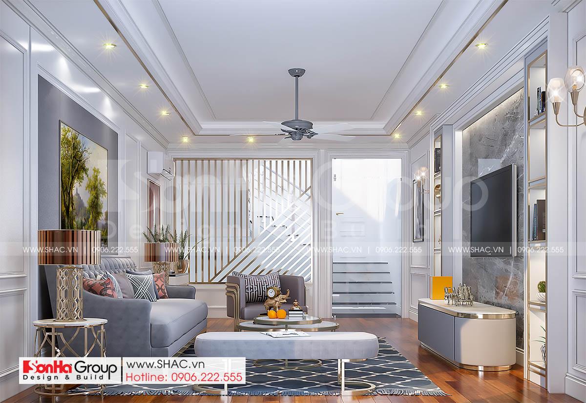7 không gian phòng khách trong nhà ống tân cổ điển diện tích 72m2 SH NOP 0216