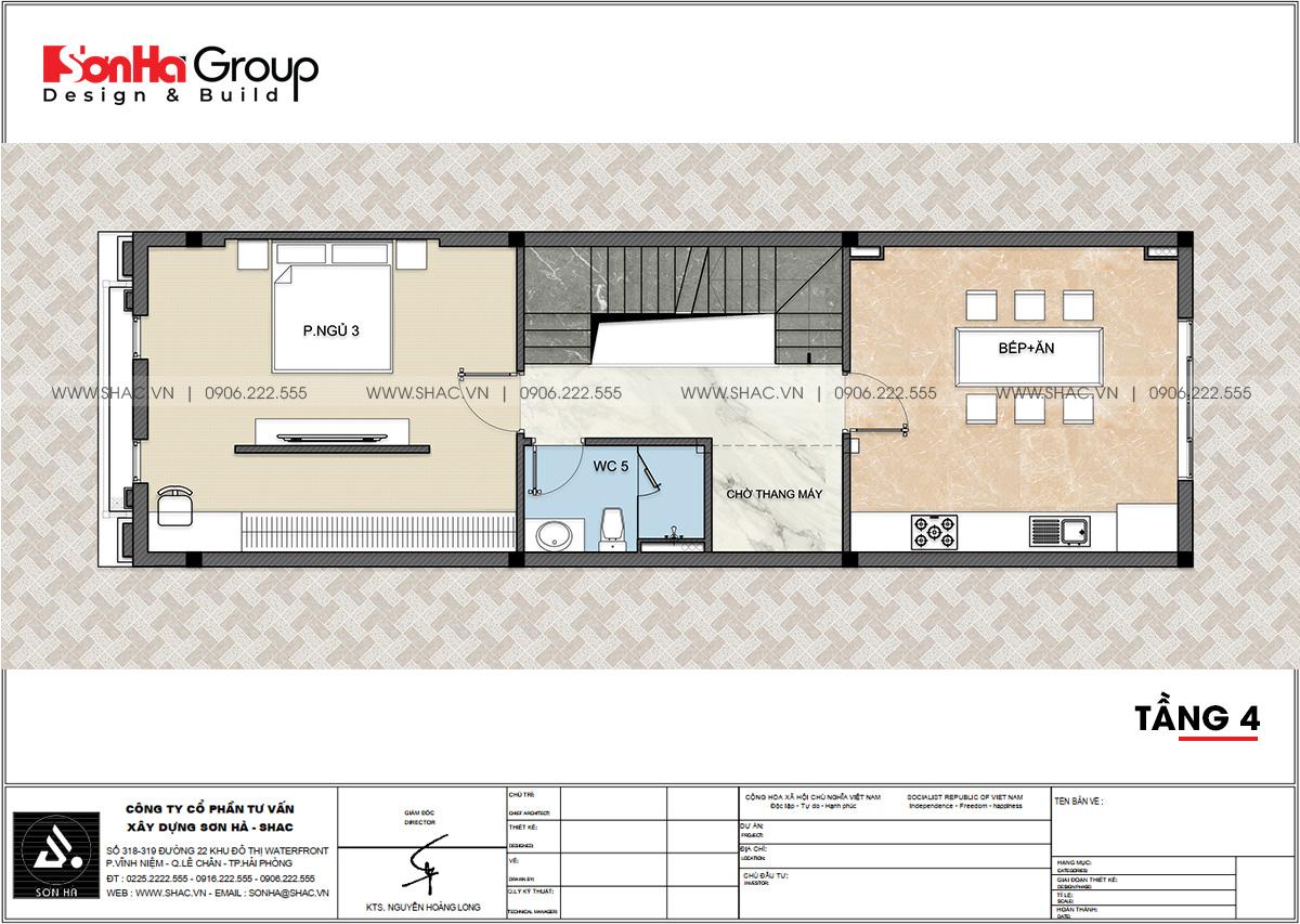 Tầng 4 thiết kế nhà ống tân cổ điển kết hợp kinh doanh đẹp diện tích 81m2