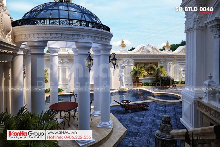 Khung cảnh sân vườn biệt thự 3 tầng 1 tum mặt tiền 16m