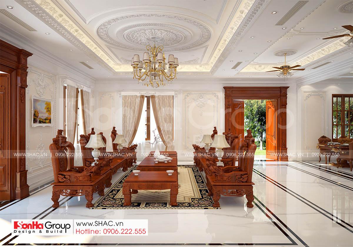 Thiết kế nội thất phòng khách trong biệt thự tân cổ điển 3 tầng tại Hải Phòng