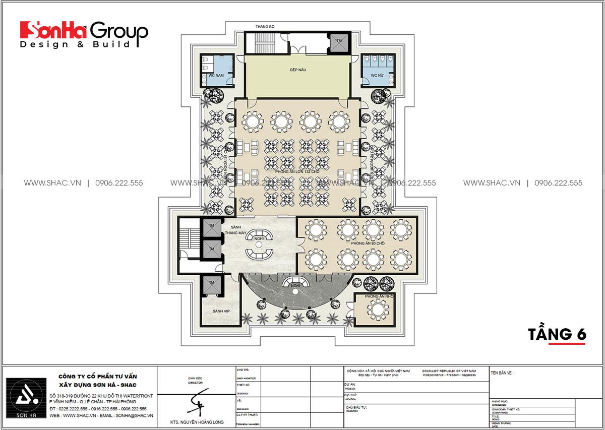 Bản vẽ chi tiết tầng 6 công trình thiết kế văn phòng làm việc tại Quảng Ninh