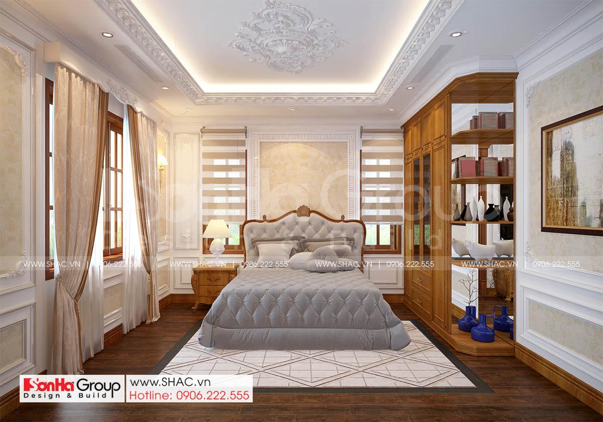 Phòng ngủ 3 trong thiết kế biệt thự tân cổ điển tại Hải Phòng