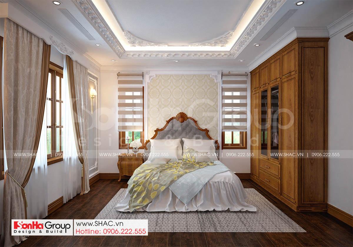 Phòng ngủ 2 nội thất tân cổ điển thiết kế biệt thự tại Hải Phòng