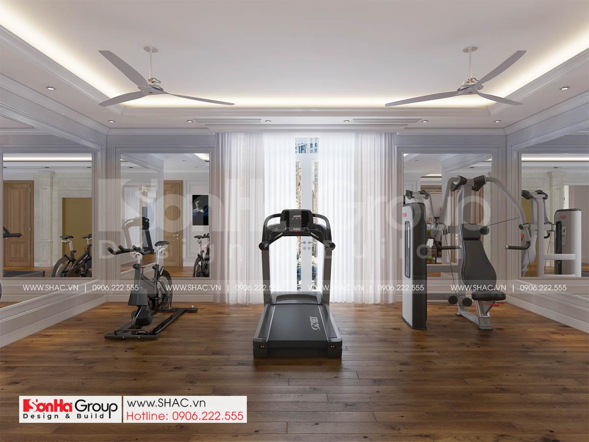 Phòng gym trong biệt thự tân cổ điển diện tích 252m2 tại Sài Gòn