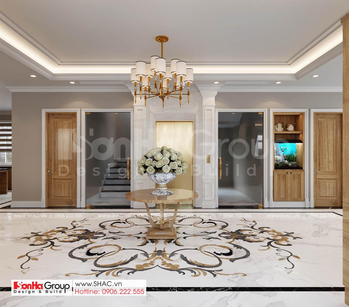 Hành lang tầng 1 thiết kế biệt thự tân cổ điển 4 tầng đẹp sang trọng