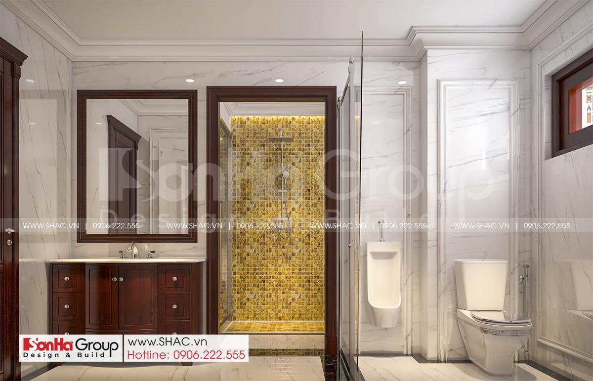 Nội thất tinh tế trong phòng tắm biệt thự tân cổ điển 3 tầng tại Hải Phòng