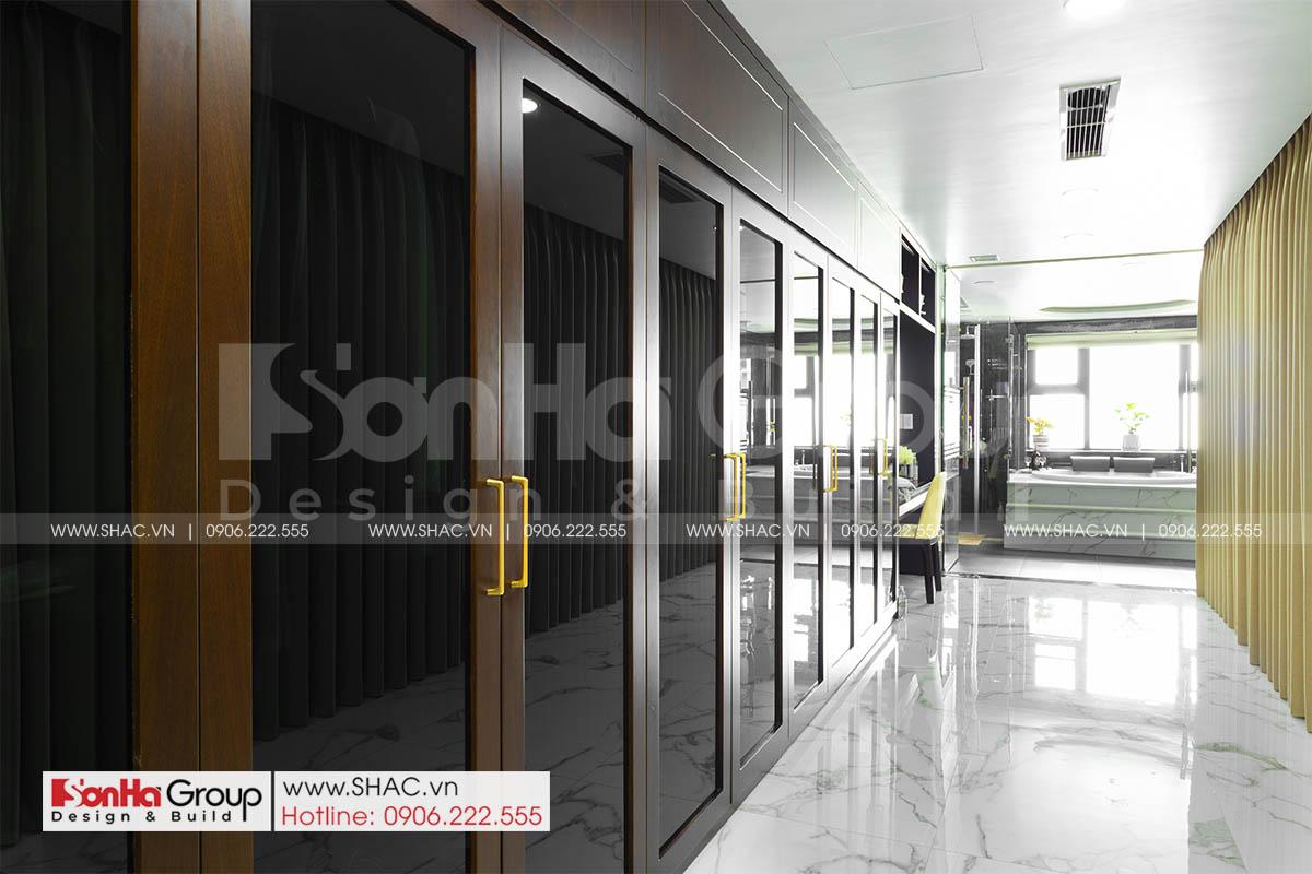 Tủ gỗ óc cho sang trọng trong thiết kế thi công nội thất nhà phố 5 tầng tại Hải Phòng
