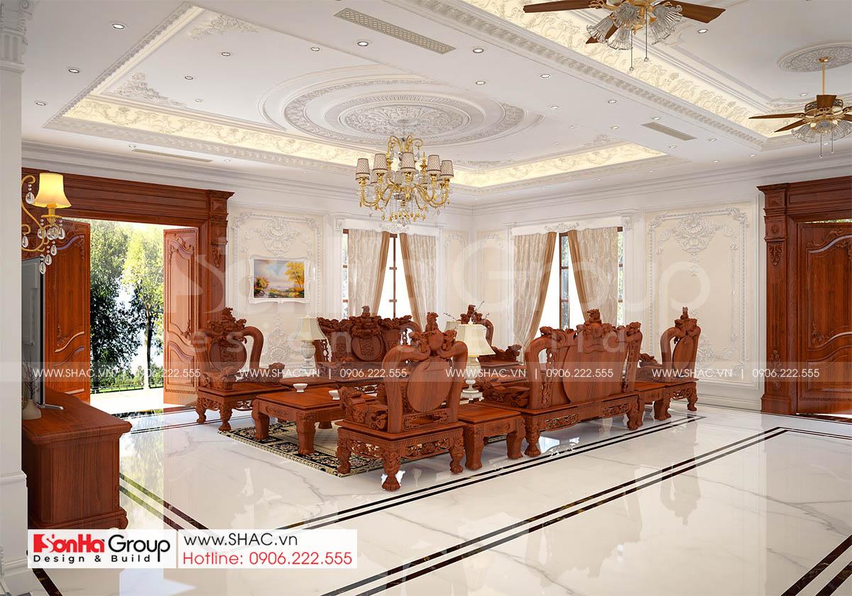 Bày trí nội thất phòng khách biệt thự tân cổ điển mặt tiền 13,7m tại Hải Phòng
