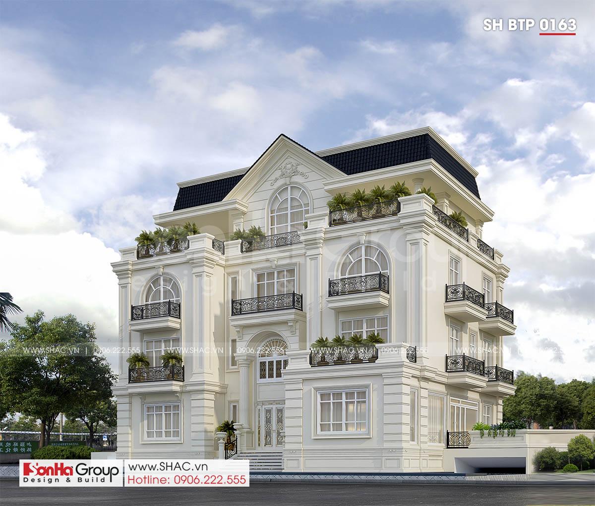 Thiết kế biệt thự tân cổ điển mặt tiền 18m tại Sài Gòn