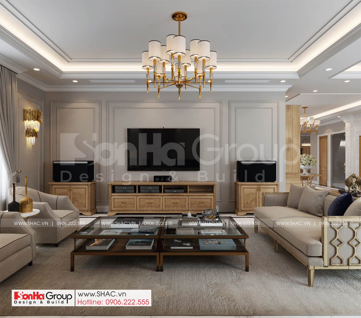 Thiết kế trang nhã trong mẫu phòng khách của biệt thự tân cổ điển 4 tầng