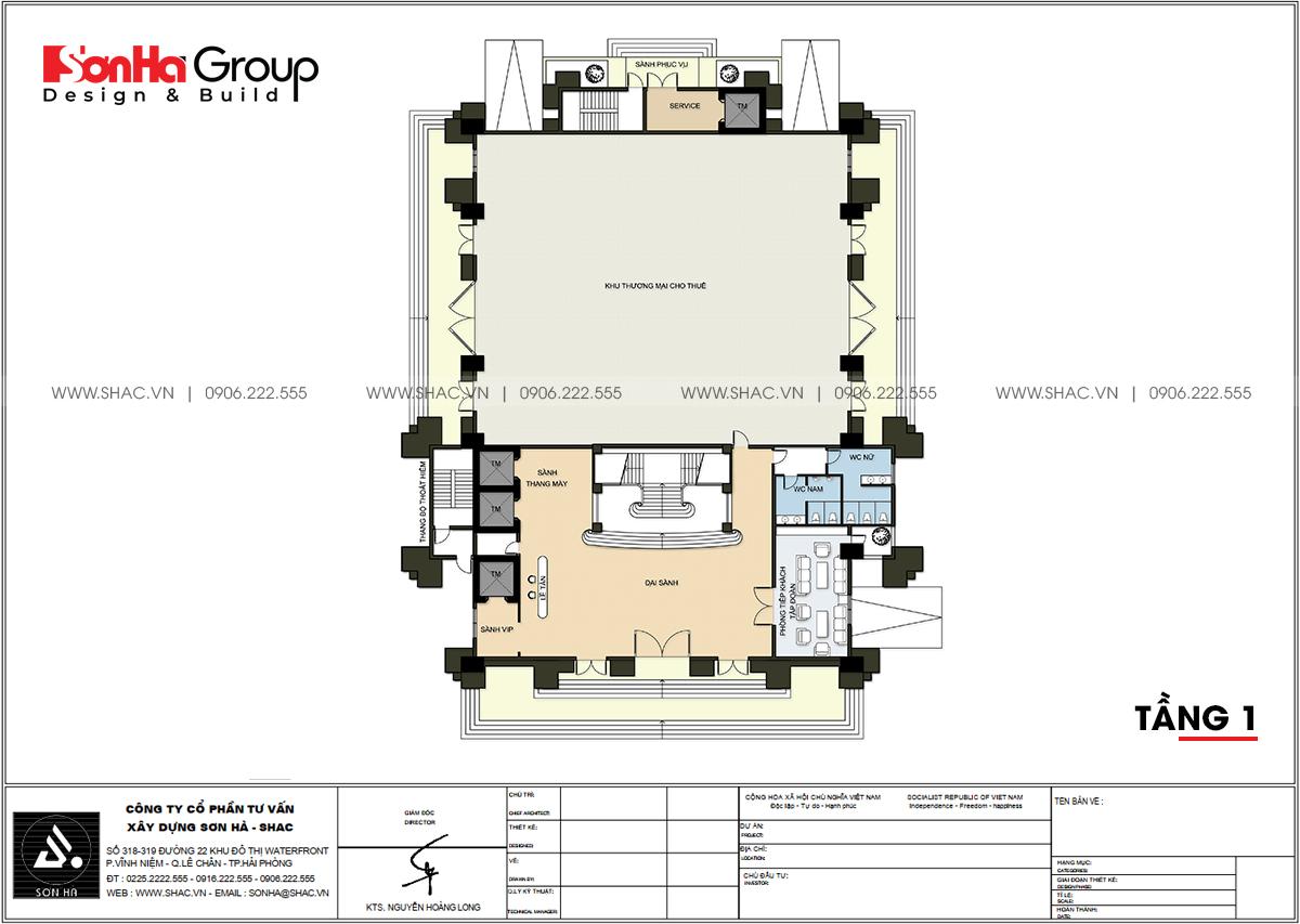 Chi tiết tầng 1 thiết kế văn phòng 6 tầng tại Quảng Ninh