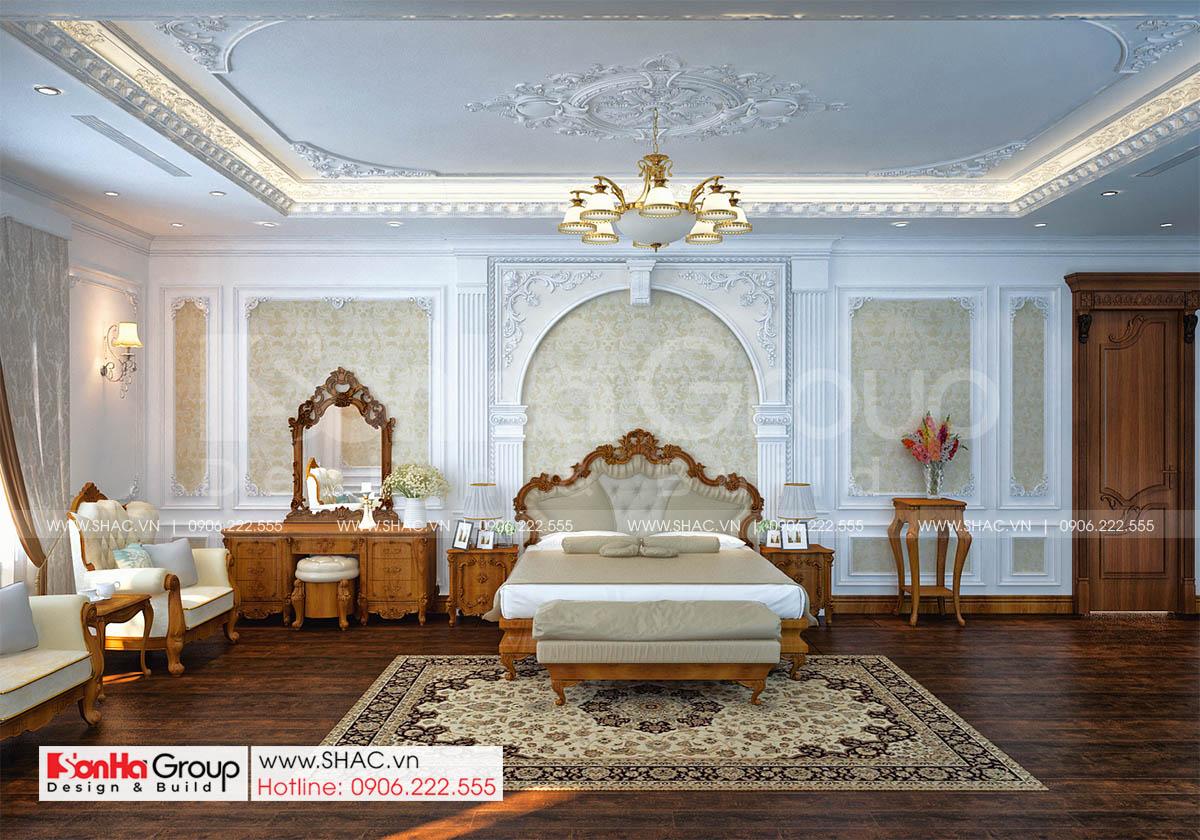 Phòng ngủ master tinh tế trong biệt thự tân cổ điển diện tích 186m2 tại Hải Phòng