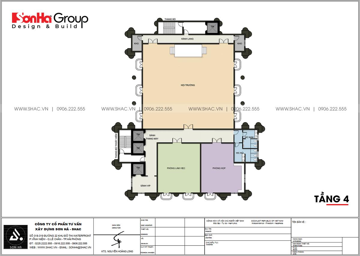 Công năng sử dụng tầng 4 thiết kế văn phòng tại Quảng Ninh