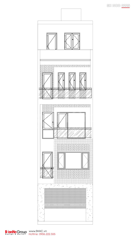 MẶt đứng trục A-B trong thiết kế nhà phố hiện đại mặt tiên 5m