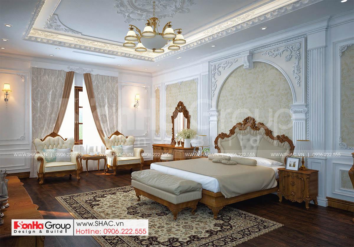Phối cảnh phòng ngủ vip trong biệt thự tân cổ điển 3 tầng tại Hải Phòng