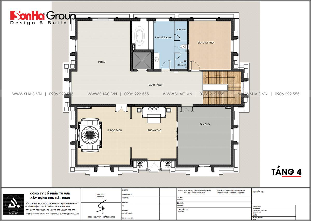 Chi tiết tầng 4 trong mẫu thiết kế biệt thự tân cổ điển sang trọng tại Đà Nẵng