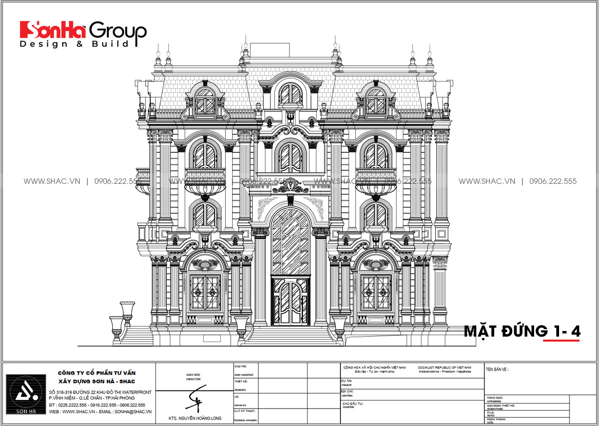 Mặt đứng trong thiết kế biệt thự tân cổ điển 263,76m2 tại Đà Nẵng