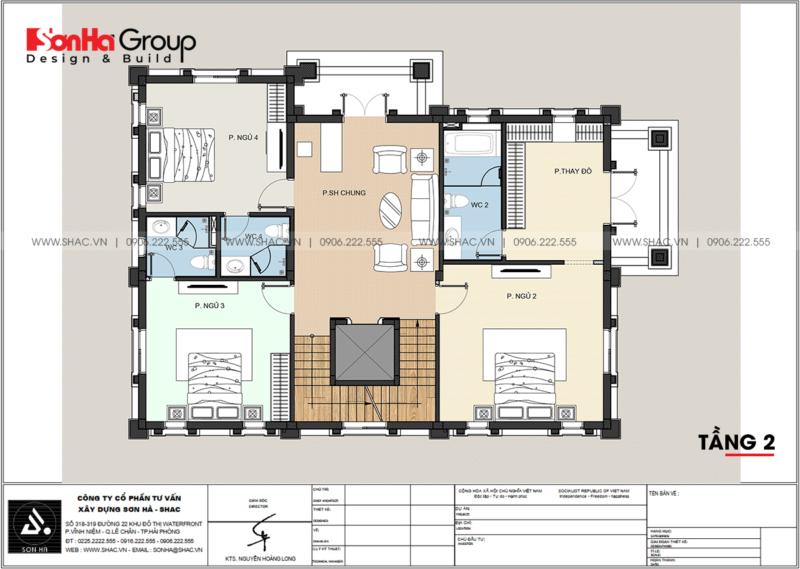 Chi tiết tầng 2 trong thiết kế biệt thự song lập 3 tầng tại Hải Phòng