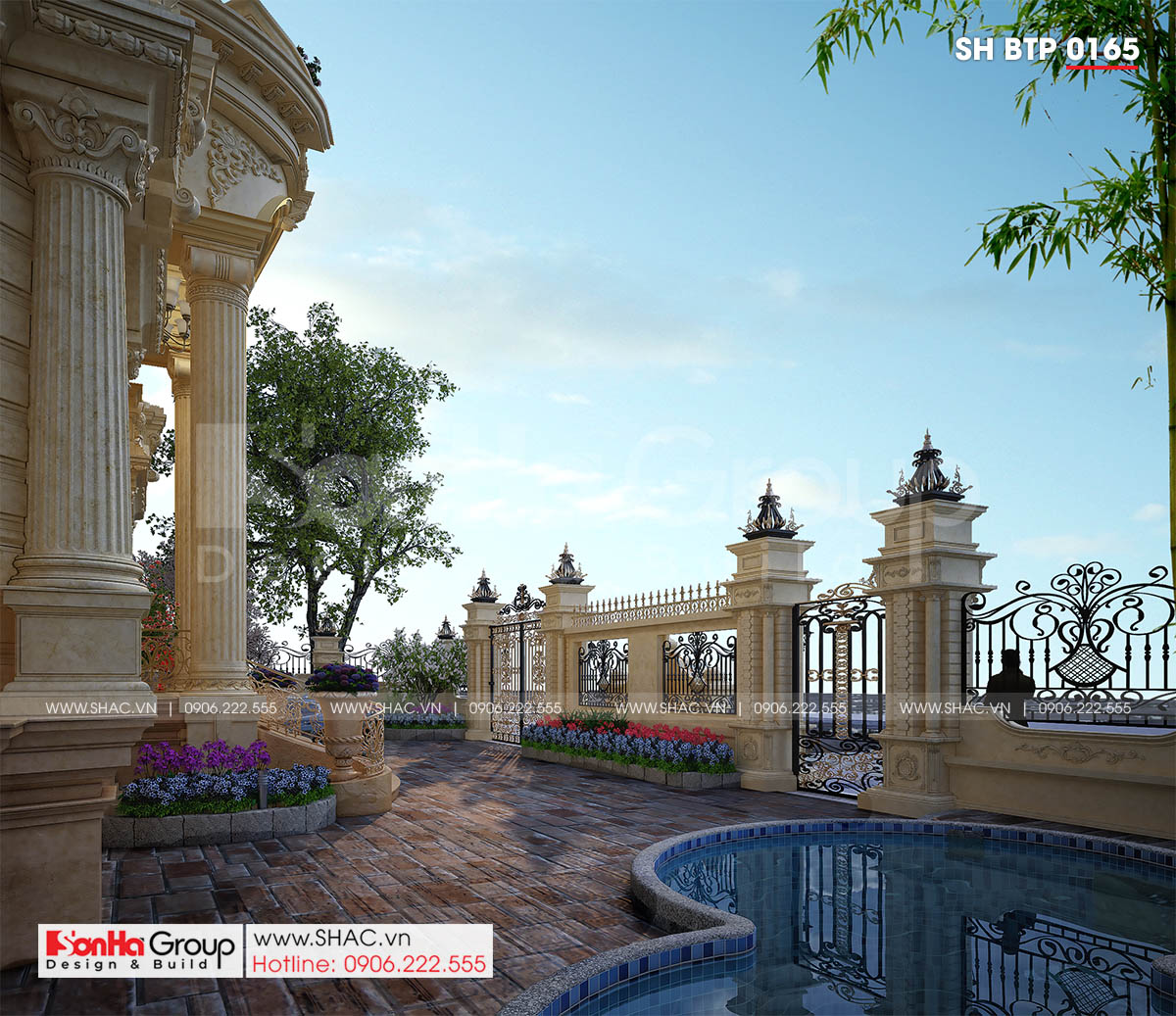 Không gian sang trọng phía trong biệt thự tân cổ điển mặt tiền 16,8m tại Đà Nẵng