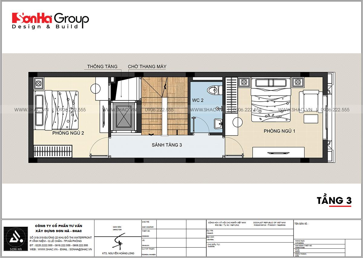 Tầng 3 trong mẫu nhà phố diện tích 59,64m2 tại Hải Phòng