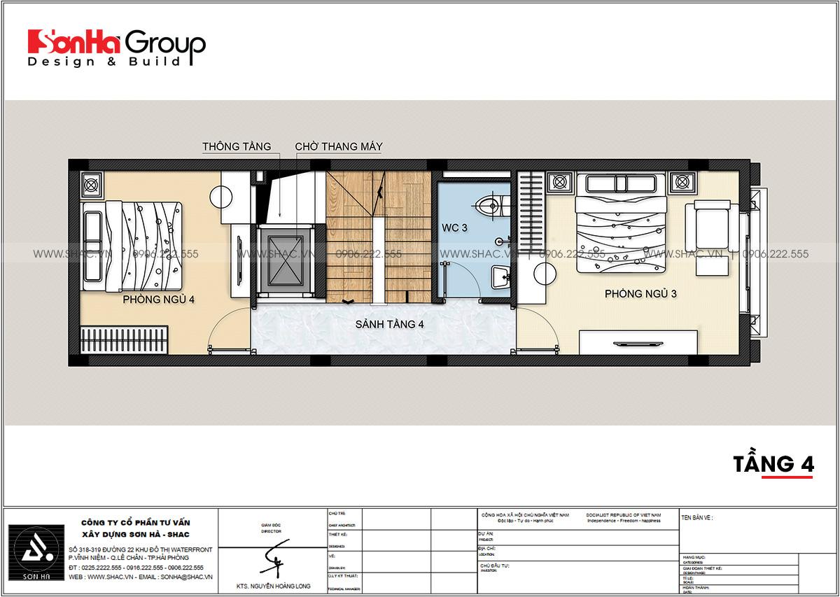Chi tiết tầng 4 trong thiết kế nhà phố tân cổ điển 5 tầng tại Hải Phòng