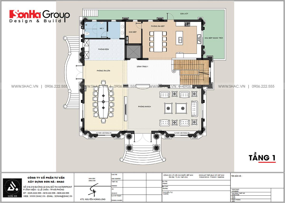 Chi tiết tầng 1 trong thiết kế biệt thự tân cổ điển 4 tầng tại Đà Nẵng
