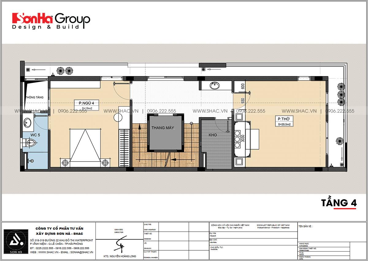 Thiết kế tầng 4 trong nhà phố mặt tiền 5m tại Hải Phòng