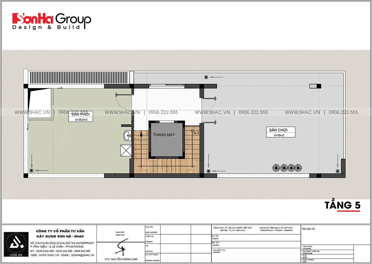Tầng 5 trong nhà phố 80,5m2 tại Hải Phòng