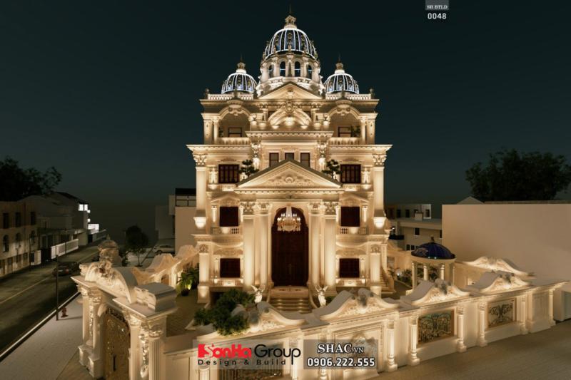 Phương án thiết kế biệt thự lâu đài 300m2 phối cảnh ban đêm