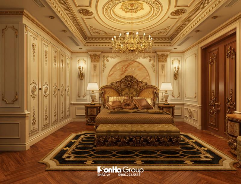 Phòng ngủ master biệt thự lâu đài