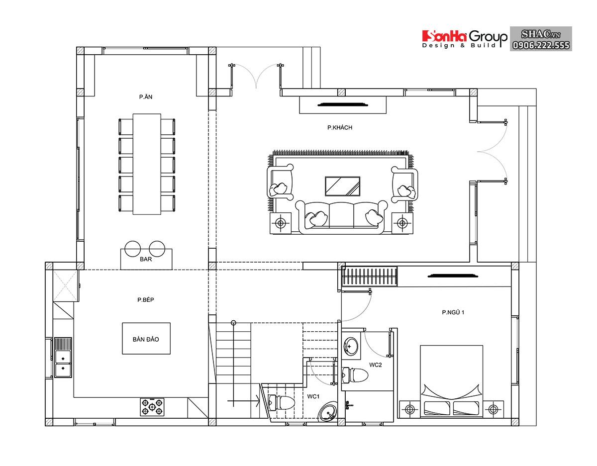 Bản vẽ tầng 1 biệt thự