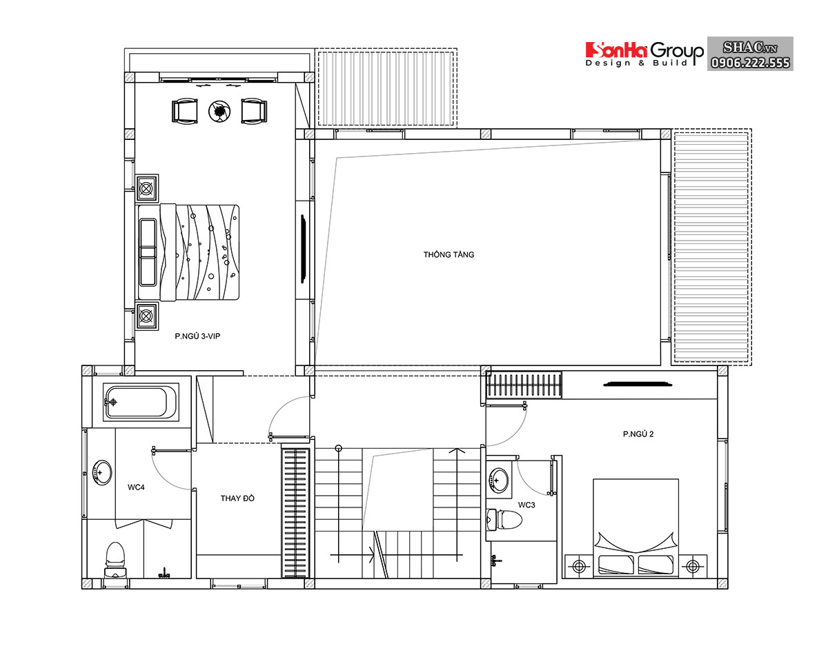 Bản vẽ tầng 2 biệt thự