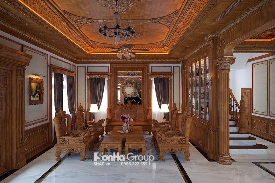 Phòng khách nội thất gỗ